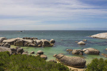 Boulders Beach in Simonstown on a partly cloudy day