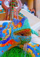 the famous lizard at the  park Guell in Barcelona in Spain