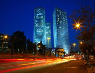 Night traffic jam. Tel Aviv, Israel