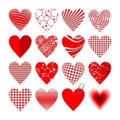 16 verschiedene rote Herzen