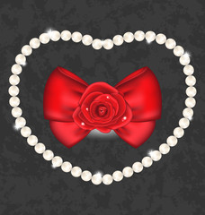 Red rose with bow and pearls for Valentine Day