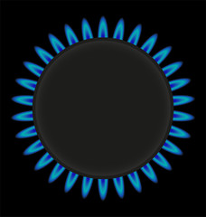 burning gas ring stove vector illustration