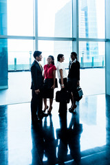 Group of business people standing in lobby or hall