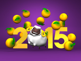White Sheep And Oranges, 2015 On Purple Background