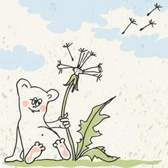 Hamster with dandelion - happy birthday card