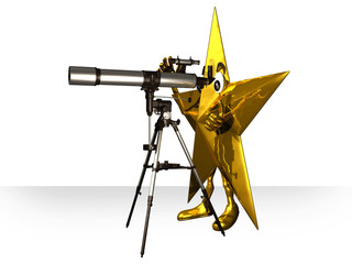 star looks with the telescope