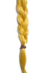 Golden blond hair braided in pigtail