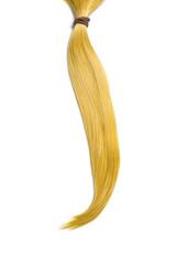 Golden blond hair, ponytail