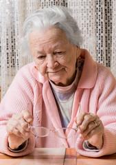 Old sad woman