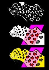ハート柄の豹のセット