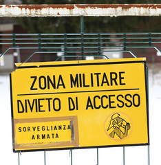 military zone sign off from a military base in Italy