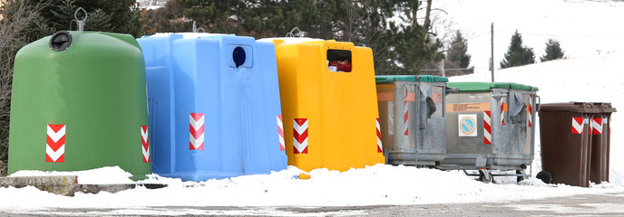 trash bins for waste paper and used glass bottles