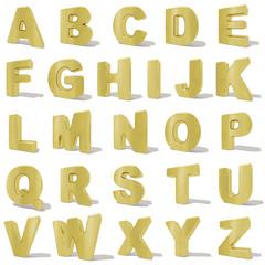 Oro Alfabeto lettere 3d, font parole su sfondo bianco