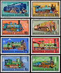 Stamps printed in Hungary show locomotives