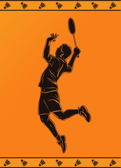 Detailed silhouette of a  badminton player in greek style