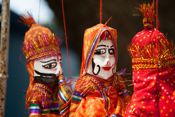 Group of Colourful Rajasthani Puppets
