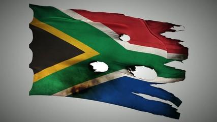 South Africa perforated, burned, grunge waving flag loop alpha