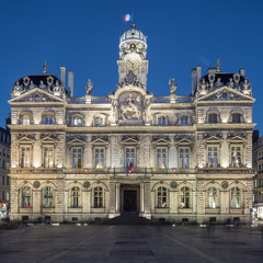 The famous Terreaux square in Lyon city by night