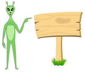 Alien pointing towards sign board