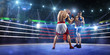 Two professionl boxers are fighting on arena - 75997384