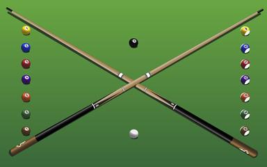 Pool equipment - table, cues, balls