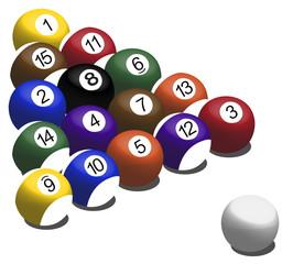 Set of pool balls