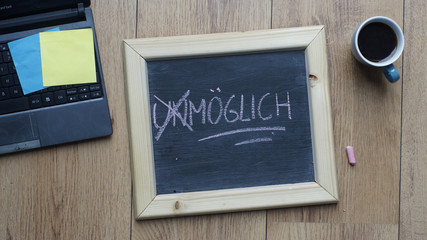 Possible written in German at the office