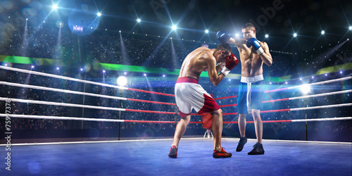 Two professionl boxers are fighting on arena - 75997378