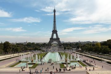 Paris - Eiffel Tower seen from fountain at Jardins du Trocadero
