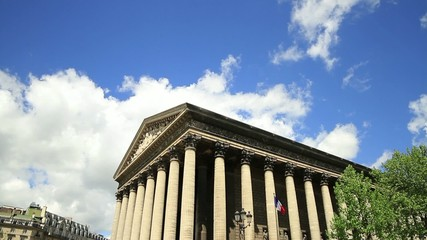 Time lapse of church La Madeleine in Paris,France