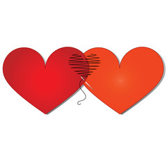 Valentine card - Two hearts sewn  thread