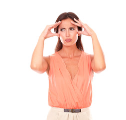 Lovely woman suffering from migraine headache