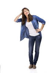 Beautiful and attractive woman wearing  a jeans shirt