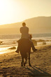 Tourist riding on the beach of Tarifa, summer vacation, Spain