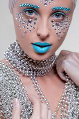 portrait of beautiful girl with diamonds