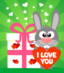 Romantic card with funny rabbit vector