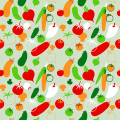Seamless pattern with vegetables on bright background