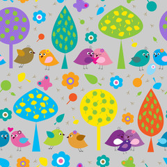 Seamless pattern with cute colorful birds