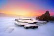 canvas print picture - Azkorri beach at sunset with vivid colors