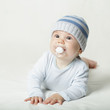 Cute baby in blue clothes