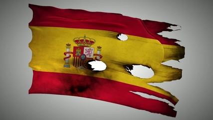 Spain perforated, burned, grunge waving flag loop alpha