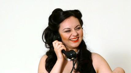 Woman portrait in retro style with phone