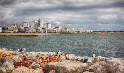view of Villamoura ocean coast ( Algarve, Portugal)