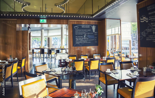 empty restaurant  in Amsterdam hotel ( Le Europe) - 75999763