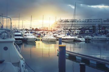 evening yacht harbor
