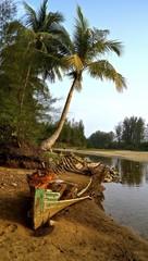 altes Boot unter Palmen