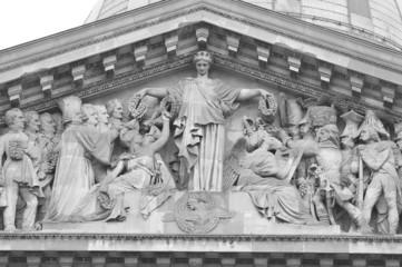Sculptural detail of Pantheon in Paris.