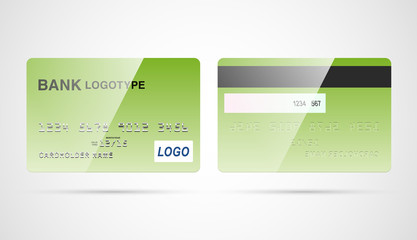 Blank debit or credit card template with magnet tape vector