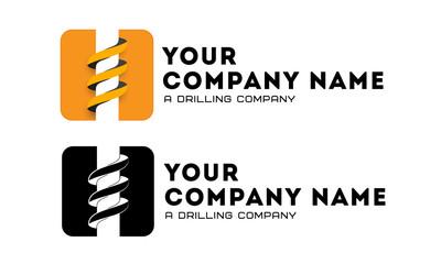 Logo template, mining business, drillers, flat logo