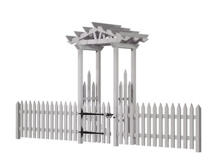 wooden arbor, gate, fence, isolated on the white background